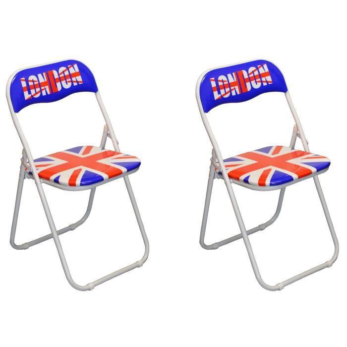 Union Jack London rembourrée Chaise pliante Lot de 2