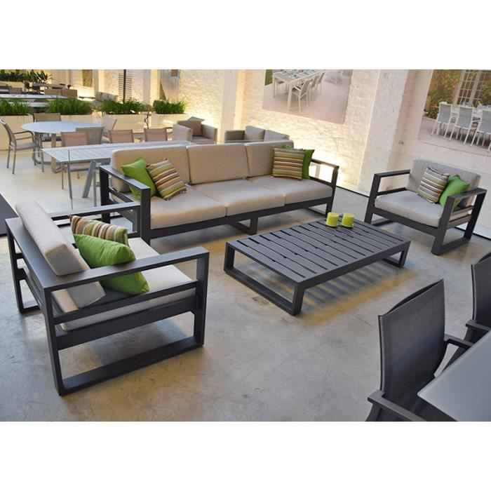 Salon de jardin 5 places en alu anthracite Azuro - Achat ...