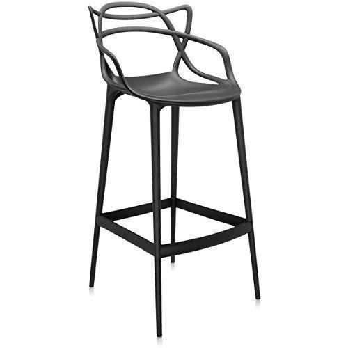 kartell masters tabouret de bar 5868 09 bar avec accoudoirs noir con u par philippe starck. Black Bedroom Furniture Sets. Home Design Ideas