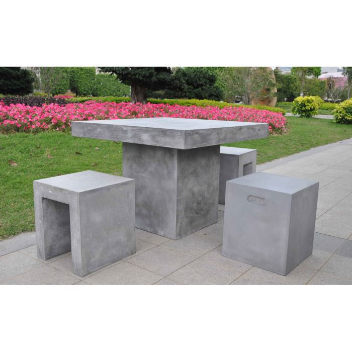 Table de jardin beton cir 105 x 105 x 75 cm achat vente table de jardin table de jardin - Table jardin beton ...