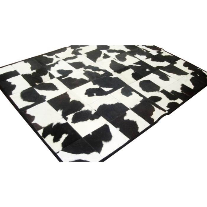 peau de vache patchwork galante noire et blanche tendance 180x210 achat vente tapis. Black Bedroom Furniture Sets. Home Design Ideas
