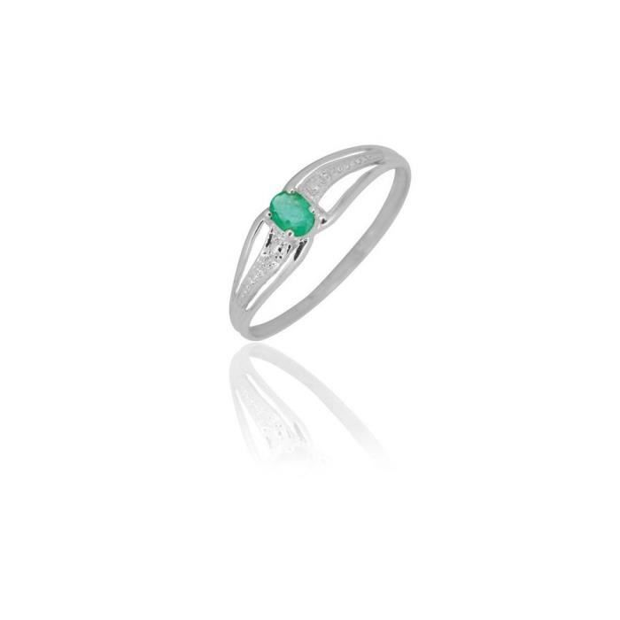 Bague emeraude or gris