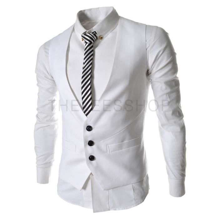 homme veste costume veste blanc achat vente gilet de costume cdiscount. Black Bedroom Furniture Sets. Home Design Ideas
