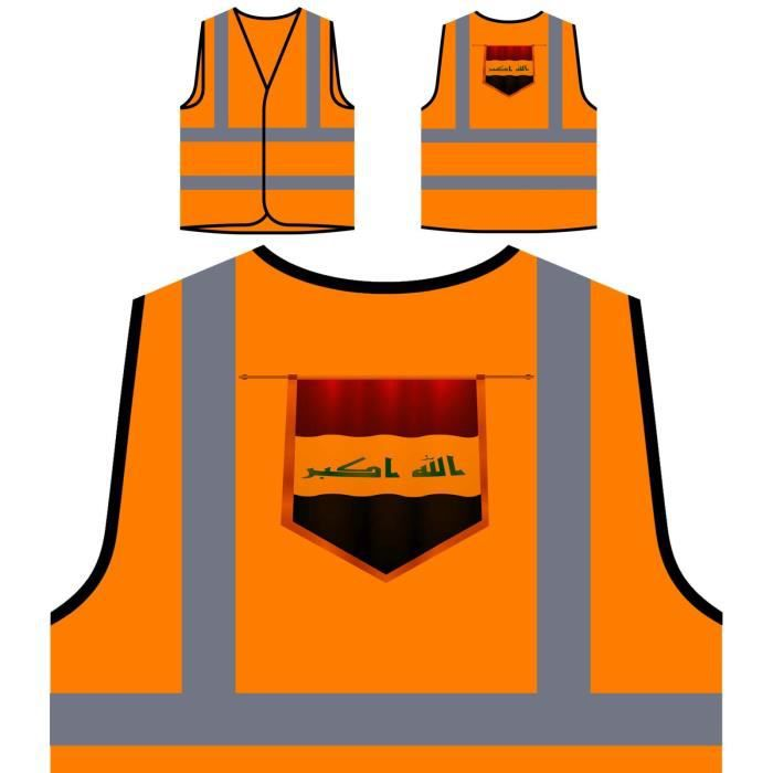 The Haute À Personnalisée H World Flag Visibilité Veste Protection iraq Orange Travel De XwqnxHWpvU