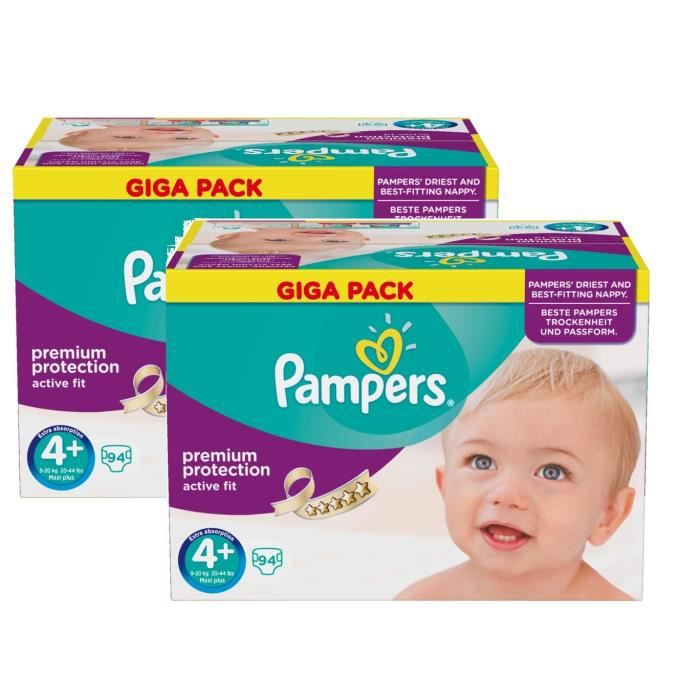 Pampers active fit taille 4 junior 9 20kg giga pack 188 - Couches pampers active fit taille 4 giga pack ...