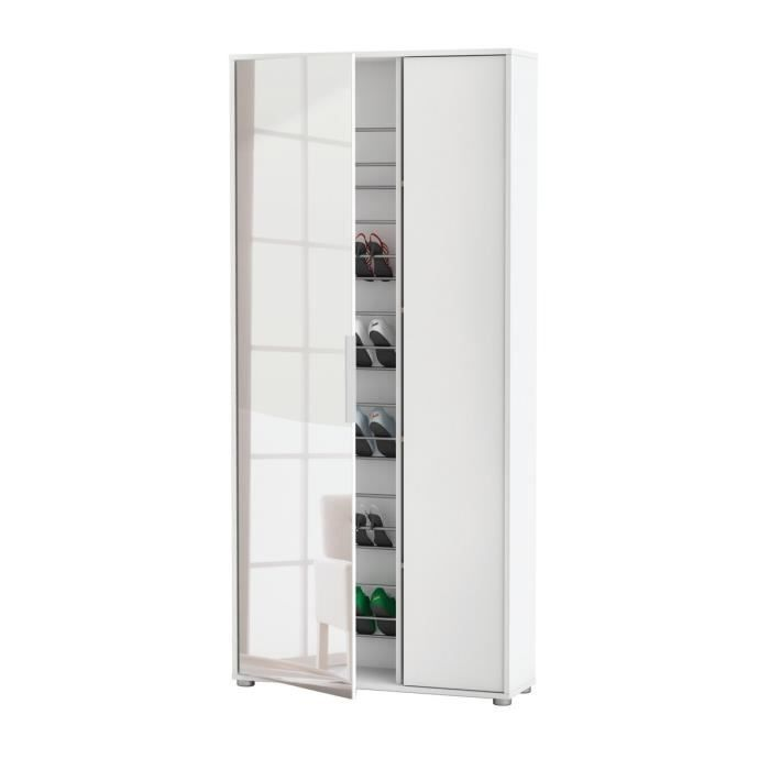 Ebony armoire chaussures miroir blanc perle achat vente meuble chau - Armoire chaussure miroir ...