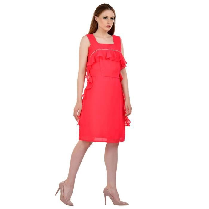 Womens Georgette Pink Dress EEPOO Taille-34
