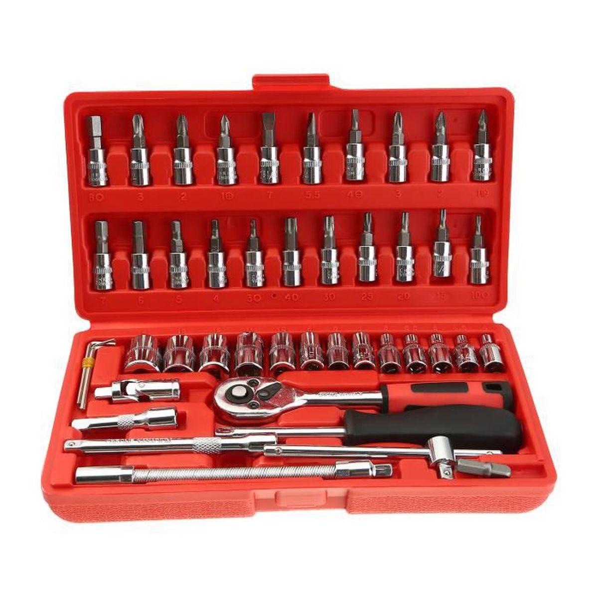 SAE Métrique Mécanicien Outil à main outils à cliquet clé à douille Set Kit 170 pièces