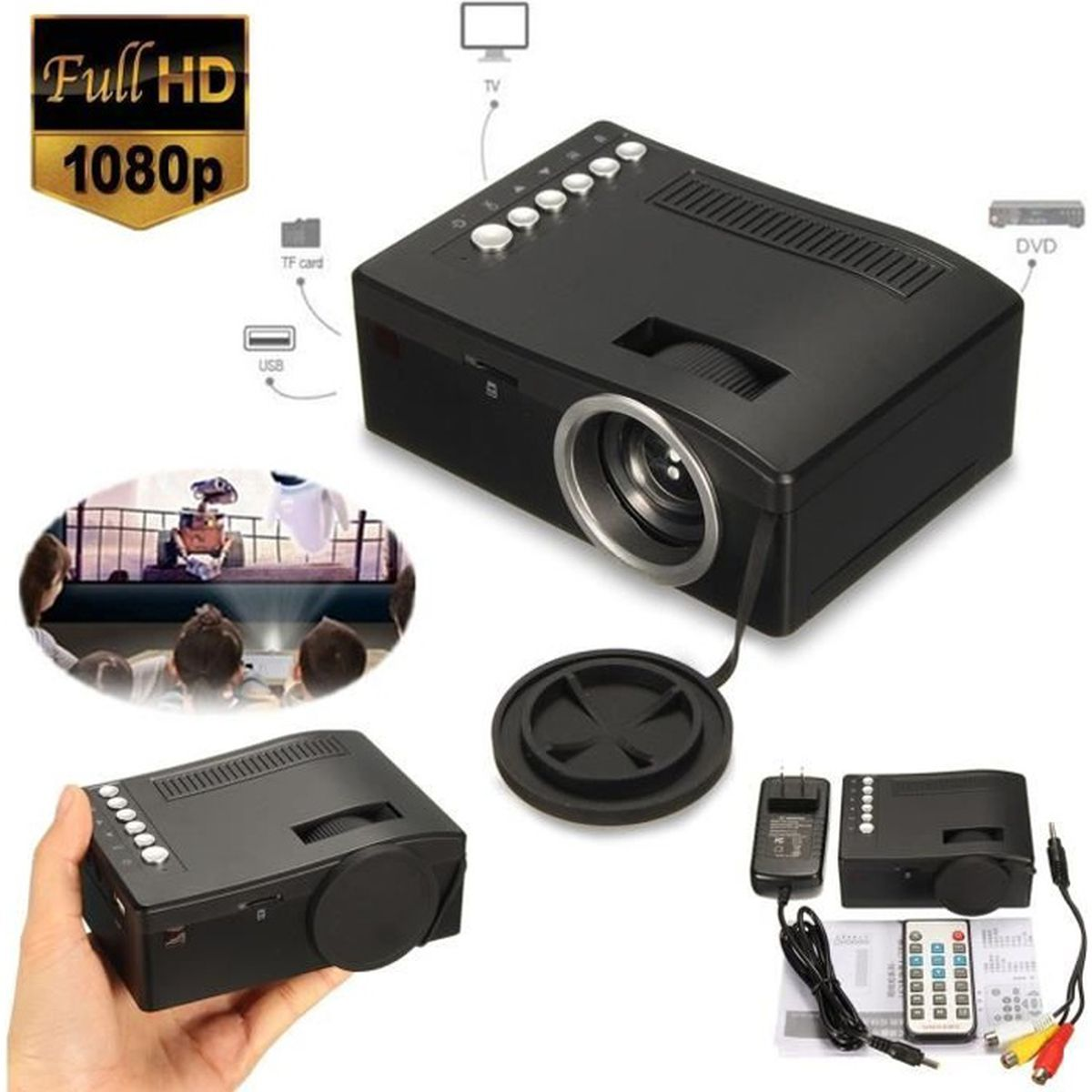 vid o projecteur hd led mini wifi 1080p uc18 projecteur. Black Bedroom Furniture Sets. Home Design Ideas