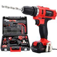TEENO® Perceuse visseuse sans fil PSR 21V+ 2 batteries lithium + 41 accessoires+ gants professionnels