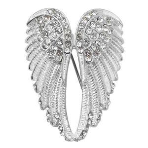 Femmes Vintage Broche Noir Strass Perle Ange Aile forme Broche Pins Bijoux
