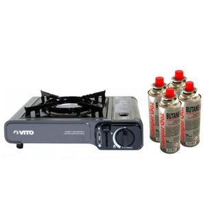 RÉCHAUD Réchaud gaz 2.2 Kw portable piezo + 4 cartouches g