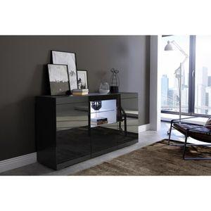 BUFFET - BAHUT  Buffet coloris Noir mat - Noir brillant avec LED b