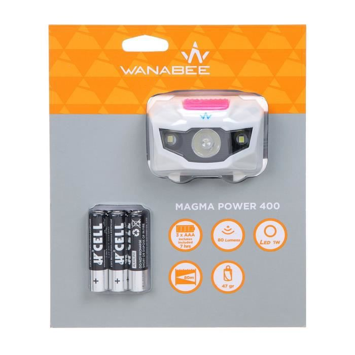 WANABEE Lampe Frontale Magma Power 400 Strap - Rose