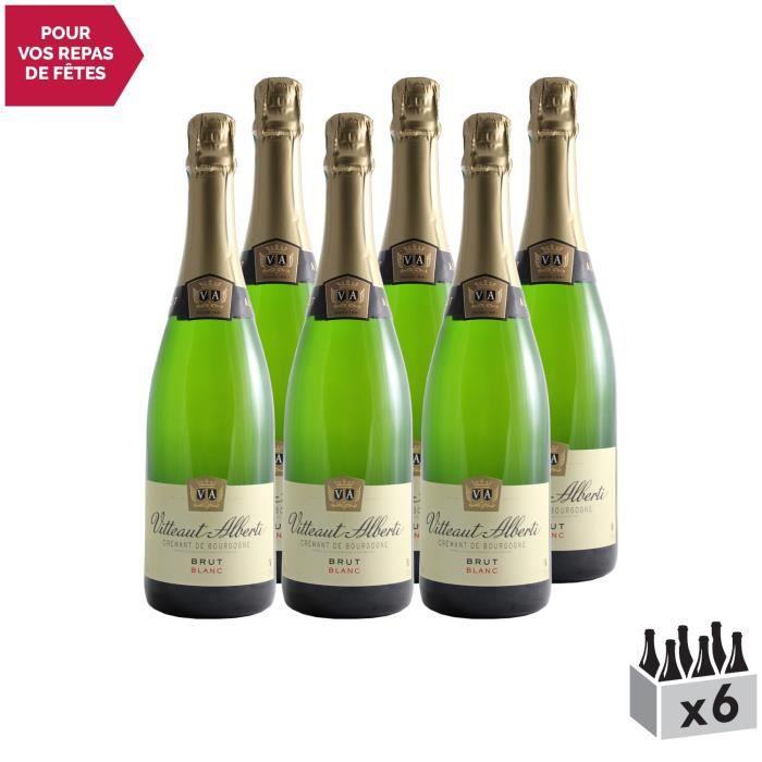 Crémant de Bourgogne Brut Blanc - Lot de 6x75cl - Domaine Vitteaut-Alberti - Vin effervescent AOC Blanc de Bourgogne - Cépages