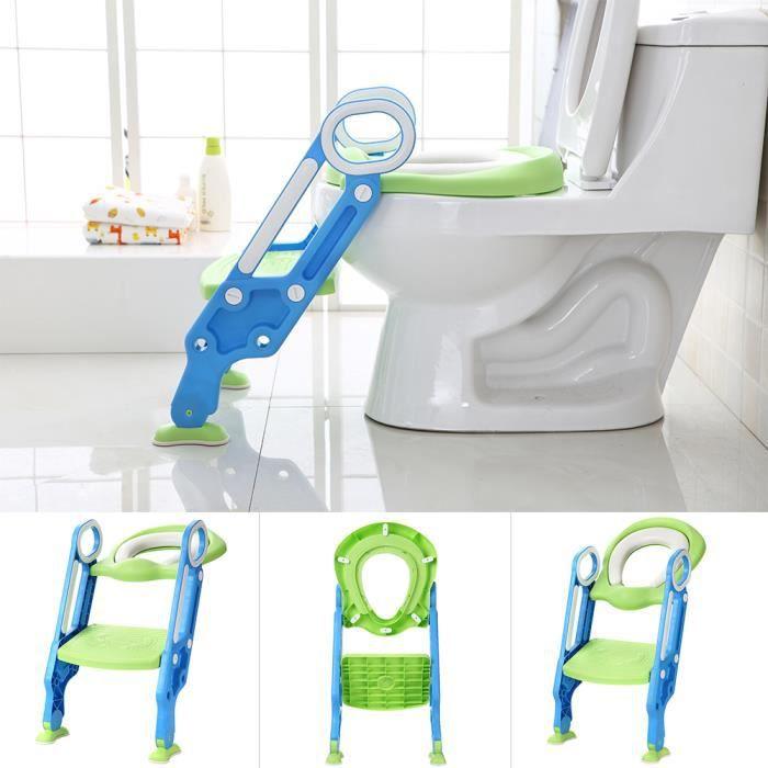 WISS Siège de toilette échelle avec marches WC siège pot Entraîneur de bébé enfant vert
