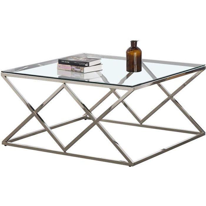 Table basse carré design en acier inoxydable poli argenté et plateau en verre trempé transparent L. 100 x P. 100 x H. 50 cm