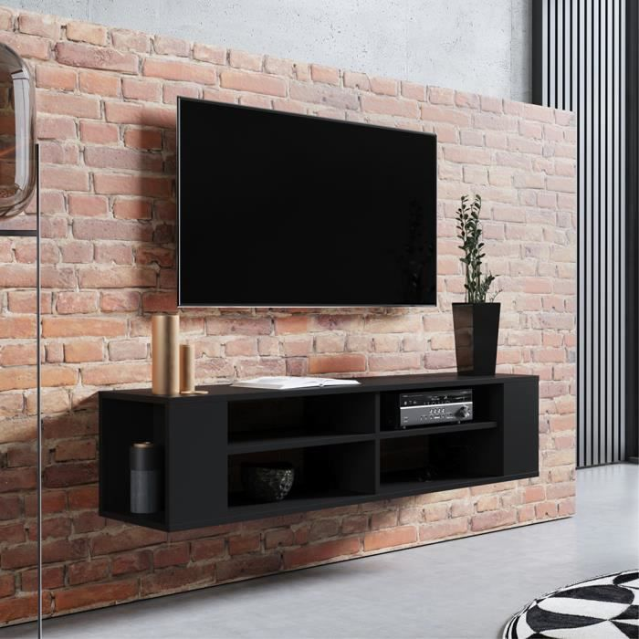 Meuble TV - WERI - 140 cm - noir - style moderne