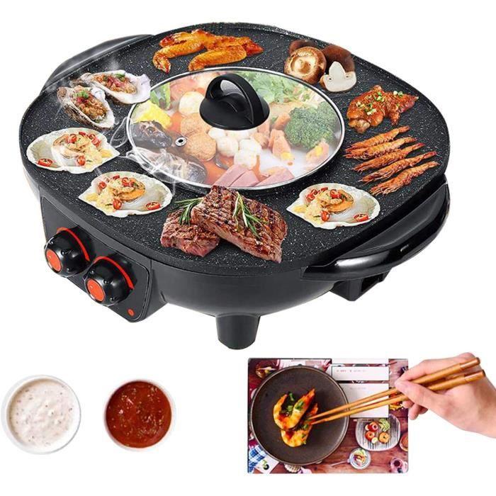 TWSOUL Gril Et Hot Pot Double Pot,Le Barbecue Thaïlandais Et Hot Pot,Barbecue Intérieur Sans Fumée-Facile à Nettoyer,Convient Pour L