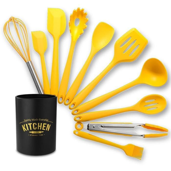 Lot Ustensiles,TESHOM 10 pièces ensemble d'ustensiles de cuisine en Silicone jaune avec boîte de rangement poignée - Type 10PCS