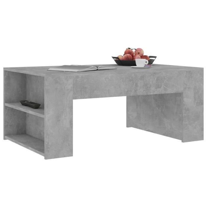 756644 - Design Furniture - Table basse style Scandinave - Bout de canapé Table à thé Gris béton 100x60x42 cm Aggloméré