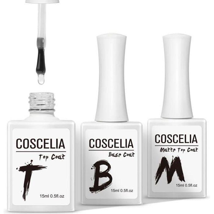 COSCELIA Vernis à Ongles Gel Primer Top Coat Base Coat Matte Top Coat Vernis Semi Permanent Soak Off 15ml