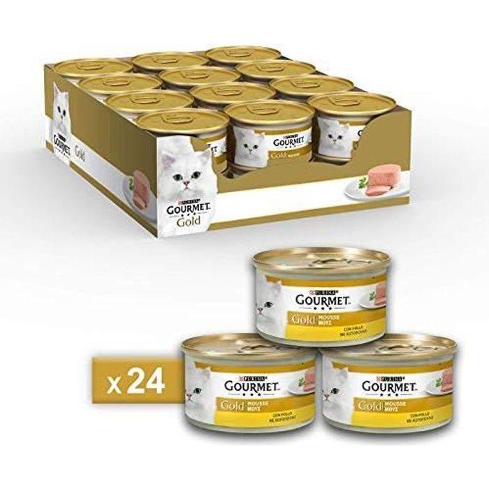 Gourmet Purina Gold Nourriture Humide pour Chat, Mousse au Poulet – 24 boîtes de 85 g chacune 8000550055408