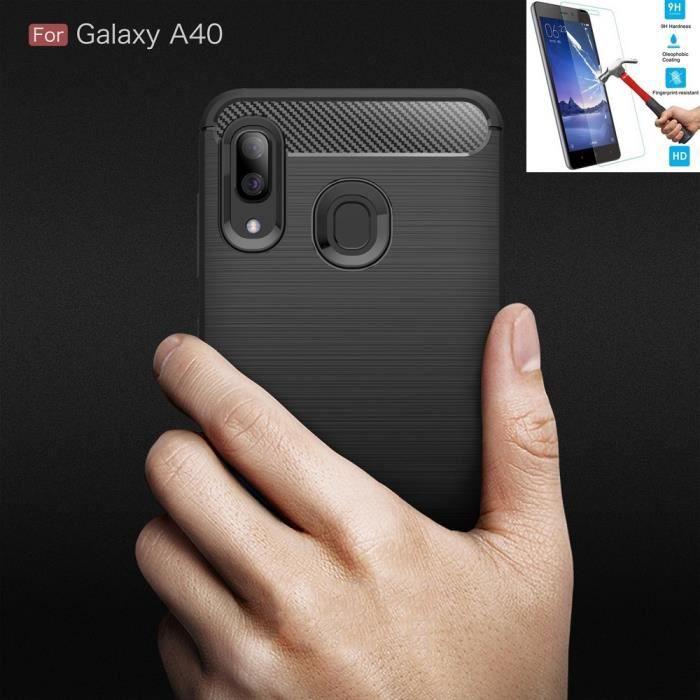 Coque Pour Samsung Galaxy A40 Carbone Noir + Film Verre Trempé Housse Etui En Silicone Gel Souple hfs-house®