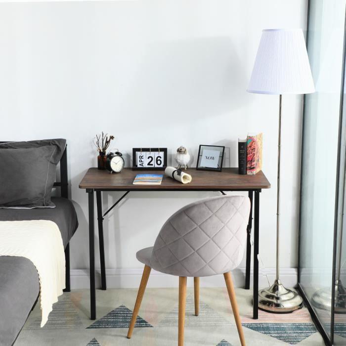 Homy Casa Bureau Informatique Industriel Style Pieds en métal - Décor Marron et noir - L 100 x 48 x 74 cm
