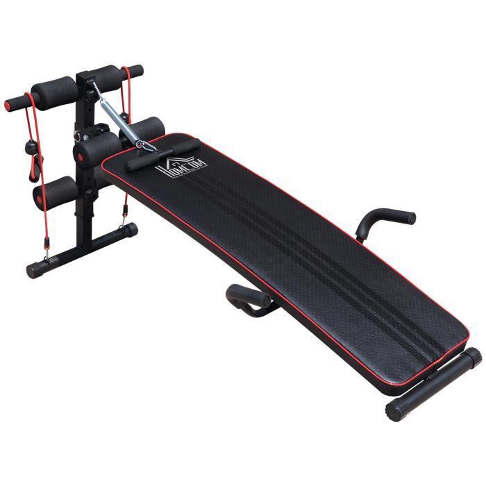 Banc de musculation appareil à abdo hauteur réglable 135L x 57l x 50-68H cm 2 bandes de résistances + ressort central traction