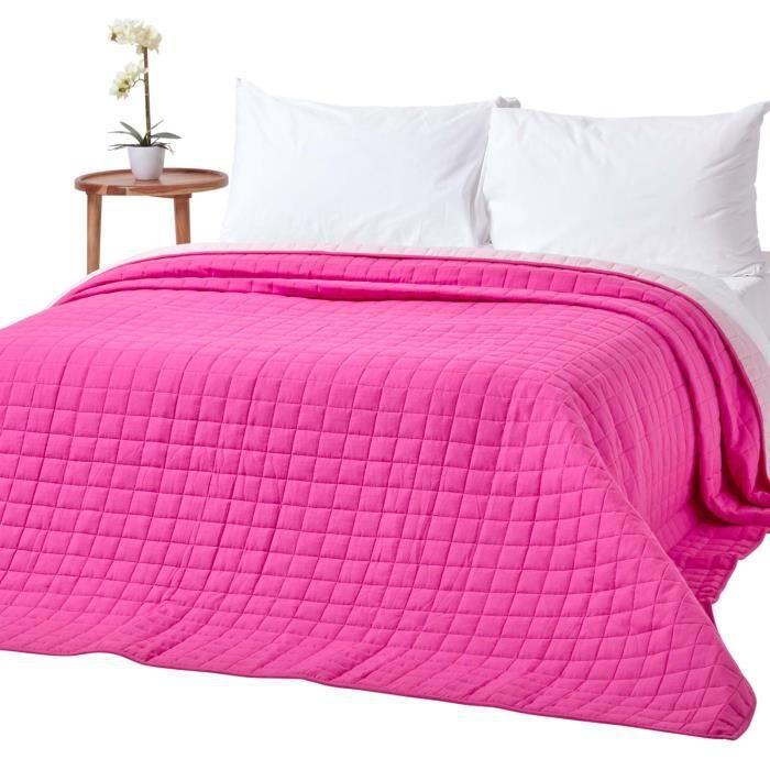 Couvre-lit bicolore en pur coton 400 g-m² coloris cerise & rose 150 x 200 cm