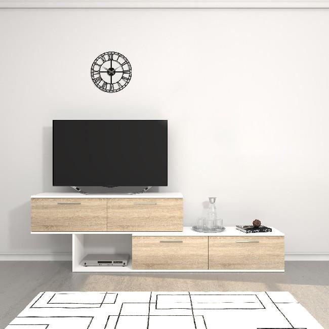 HOMEMANIA Meuble TV Antipodi - avec portes, étagères - Salon - Blanc, Sonoma en Panneau de mélamine, 200 x 30 x 60 cm, ,