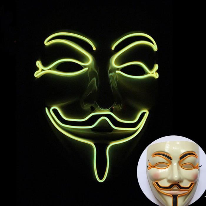 Masque rougeoyant d'Halloween LED V for Vendetta Cosplay
