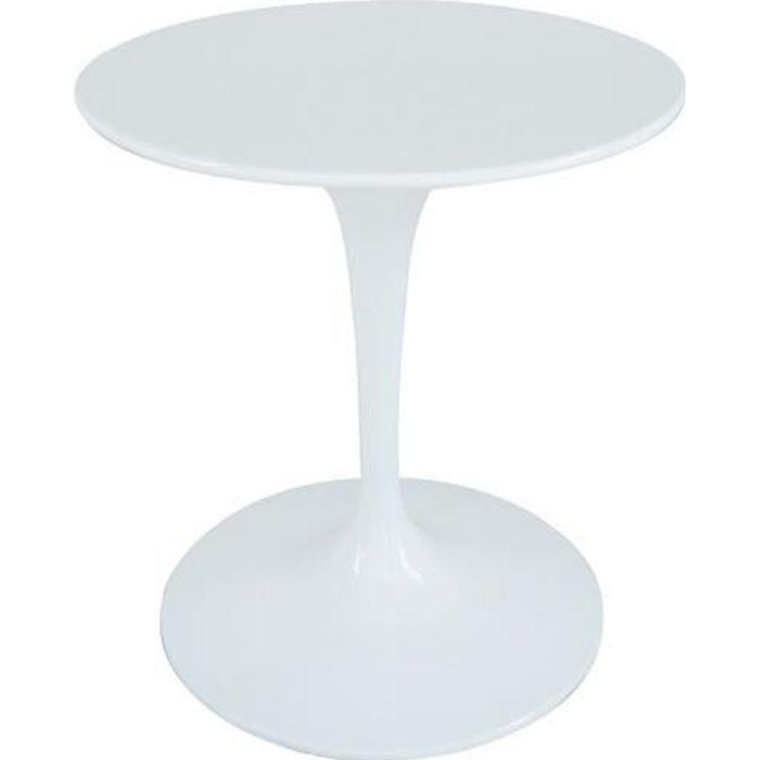Table ronde de repas design TULIPE laquée blanc 60 cm. - - Inside75