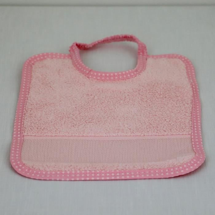 LINANDELLE - Bavoir bébé en coton fermeture élastique et bande toile aïda - Rose