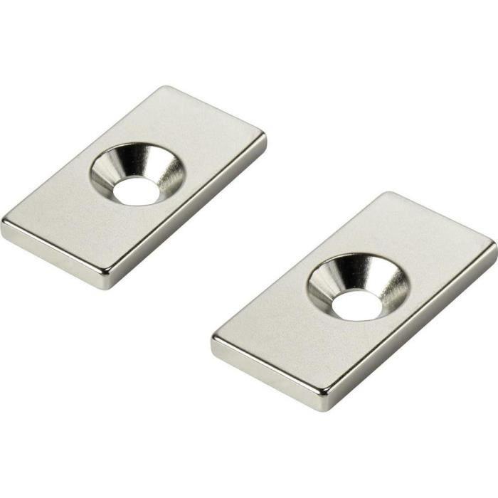 Aimant Bloc avec trou 30 x 10 x 3mm Néodyme N35 - S pôle - 5 pièces