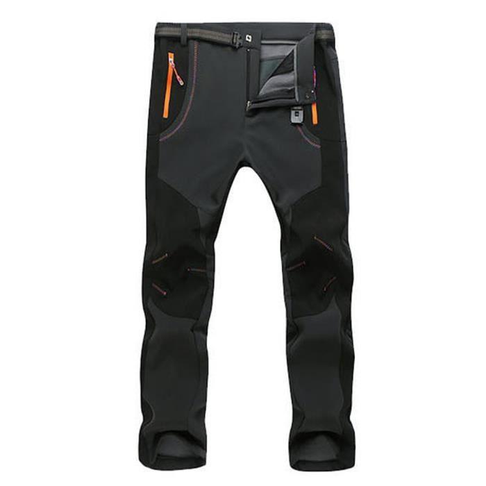 Pantalon de Randonnée Surpantalon Homme Fausse Fourrure Chaud -Taille Asiatique Gris