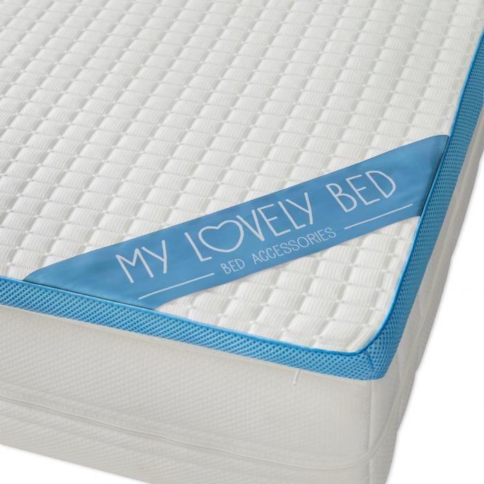 My Lovely Bed - Surmatelas Mémoire de Forme Rafraichissant 90x190/200 cm - Refroidissant : Mousse viscoélastique - Gel Frais