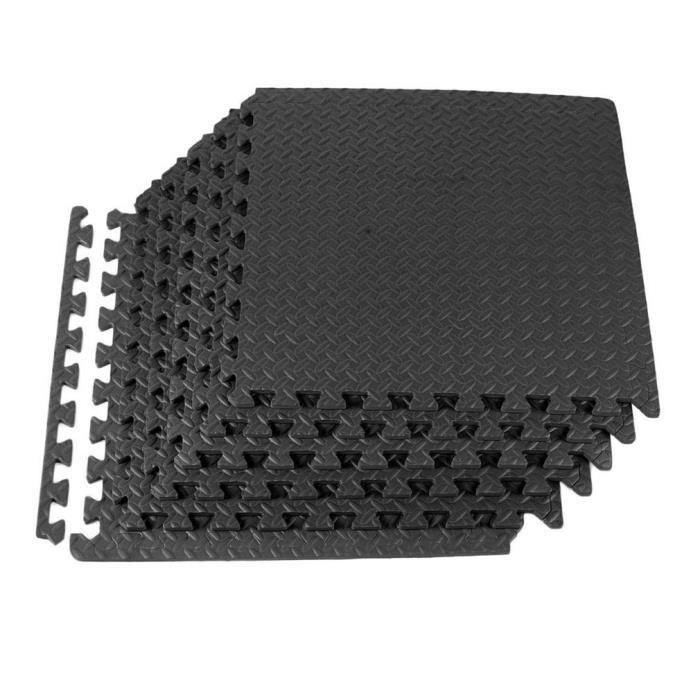Lot de 12 Pièces Tapis de Protection de Sol,Tapis de Sol Puzzle,Tapis de Gymnase,Tapis de Sport en Mousse EVA 60 x 60 x 1,2CM Noir