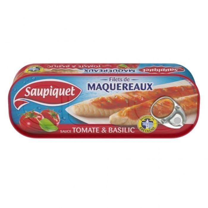 Saupiquet Filets de Maquereaux Sauce Tomate & Basilic 169g (lot de 5)