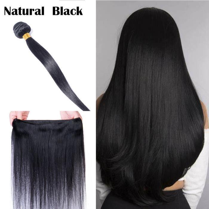 Tissage Naturel Pour Cheveux Tissage Bresilien Un Lot Lisse Extension Raide Tissage Naturel Cheveux Humain (Noir Naturel, 12 Pouces)