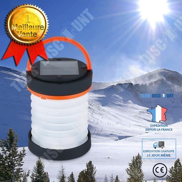 TD® Lampe De Camping Solaire Pliable Lampe Imperméable Batterie Urgence Chargeur USB Rouge Campement Forêt Tente Charge Complète