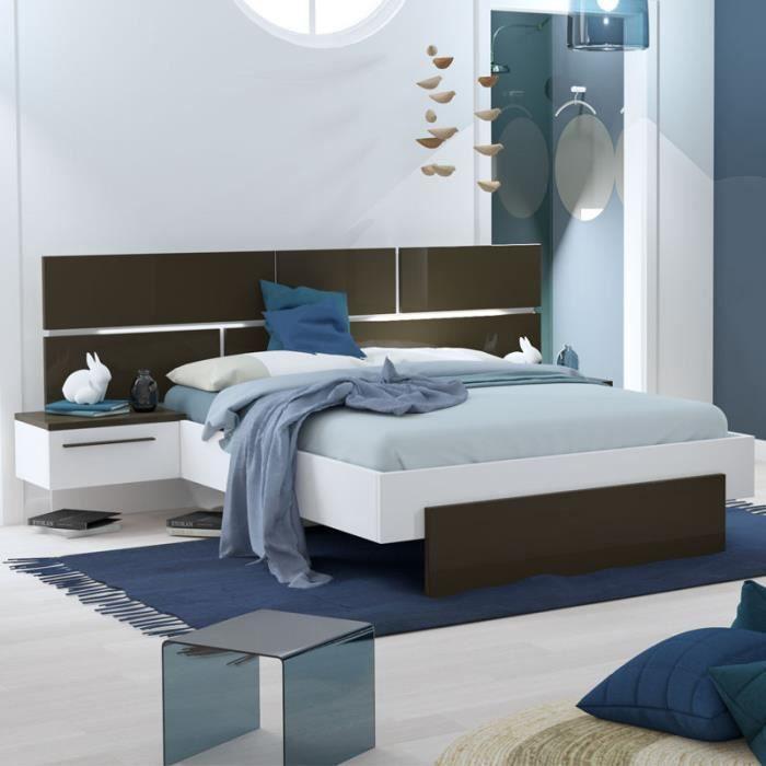 Cadre + Tête de lit 160*200 + chevets Gris anthracite/Blanc - FLORINE - L 264 x l 208 x H 40/102