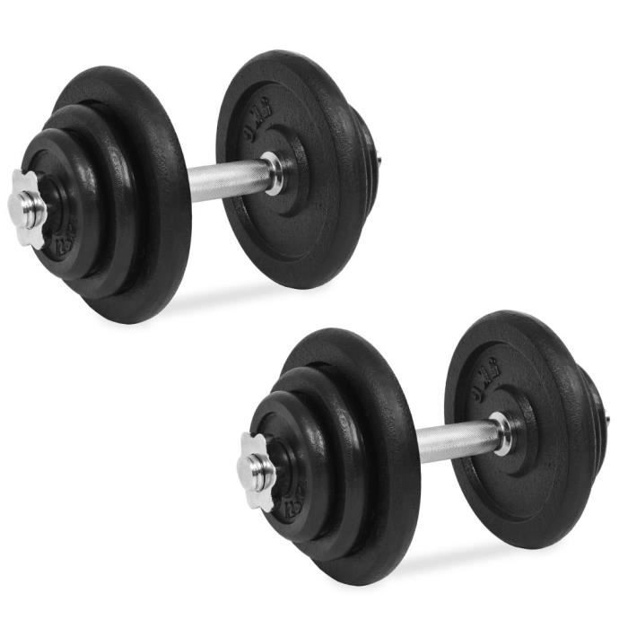 Ensemble d'haltères 18 pcs 40 kg Fonte - Noir - Entraînement et fitness - Haltérophilie - Poids libres - Noir - Noir