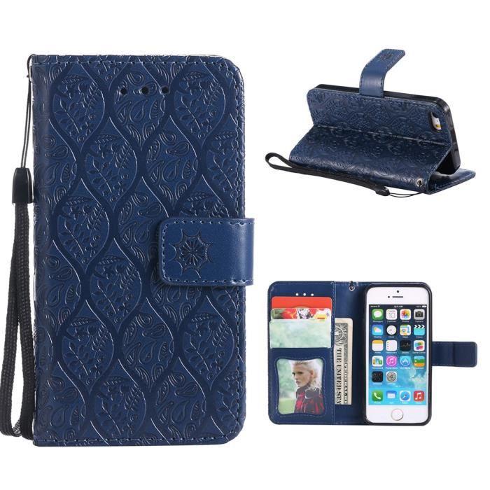 Etui pour iPhone5- iPhone5c- iPhone5s- iPhoneSE,Housee Flip Cover Clapet Protecteur Dragonne Stand Support et Carte-Bleu foncé