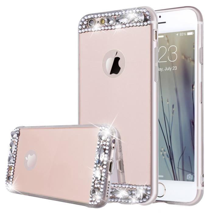 Coque Miroir pour iPhone 6S iPhone 6 Étui Bling Cr
