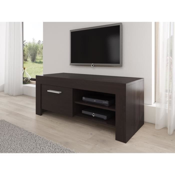 rome meuble tv contemporain d cor ch ne fonc 120 cm achat vente meuble tv rome meuble tv. Black Bedroom Furniture Sets. Home Design Ideas