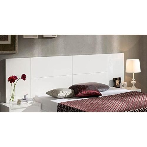 t te de lit en bois haute laqu brillant cadix 553 blanc 150 cm matelas achat vente t te. Black Bedroom Furniture Sets. Home Design Ideas