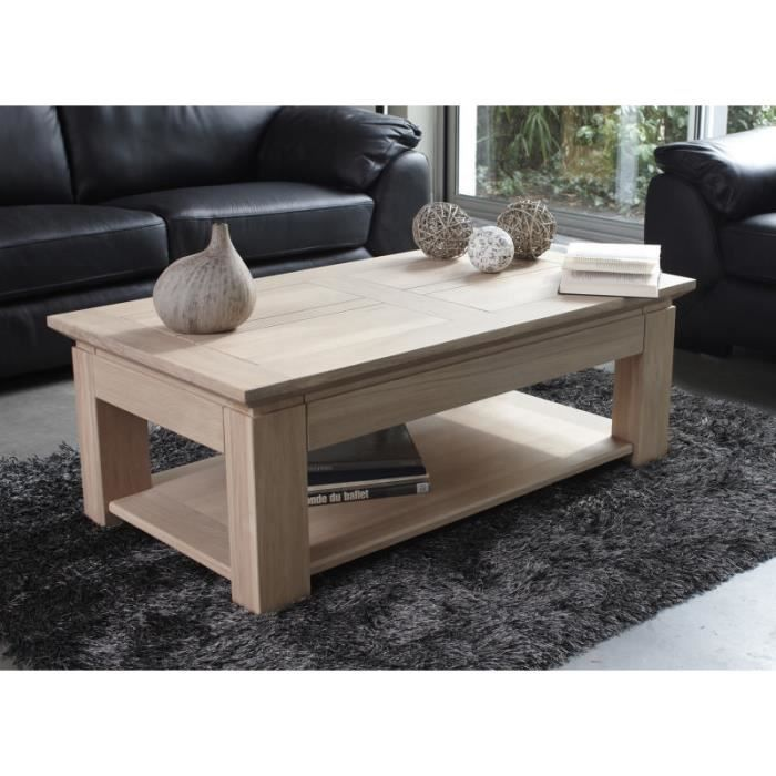 Table basse ch ne massif stockholm blanchi 120cm meuble for Table basse en chene massif