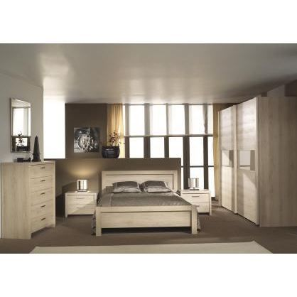 chambre coucher adulte compl te hissa 140x200cm achat. Black Bedroom Furniture Sets. Home Design Ideas